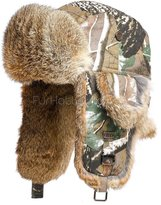 frr uflage Trapper hat with Natural Brown Rabbit Fur (2XL)