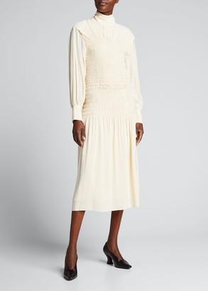 Proenza Schouler Smocked Turtleneck Midi Dress