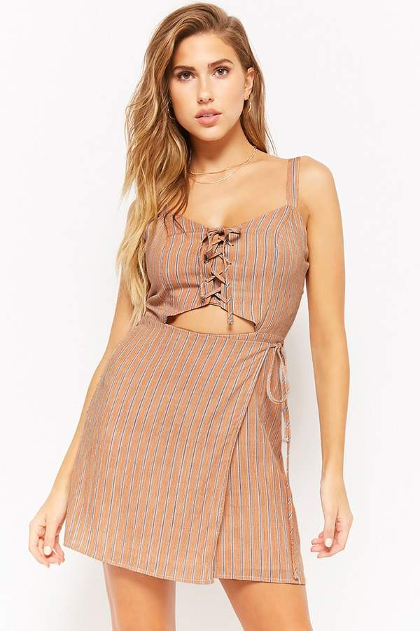Forever 21 Striped Lace-Up Wrap-Front Dress