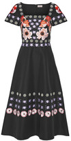 Temperley London Sylvie Embroidered Cotton And Silk-blend Dress - Black