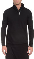 2xist Zip Shawl-Collar Pullover Sweatshirt, Black