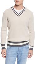 Brunello Cucinelli Men's Donegal V-Neck Sweater