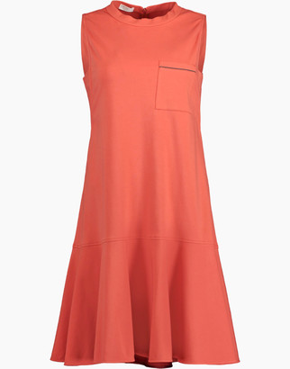 Brunello Cucinelli Cotton Stretch Ruffle Hem Dress