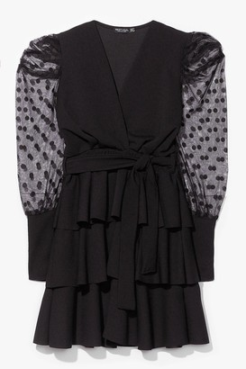 Nasty Gal Womens Can't Sleeve You Behind Ruffle Belted Mini Dress - Black