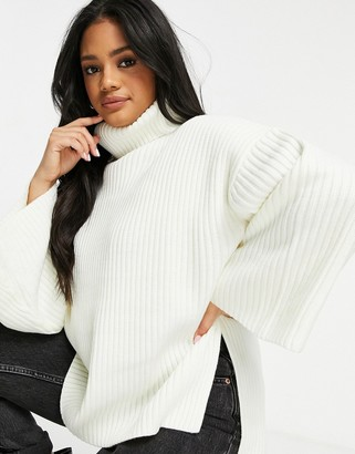 Pretty Lavish high neck chunky knit oversized chunky sweater in cream