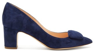 Rupert Sanderson Clava Pebble Suede Pumps - Womens - Navy