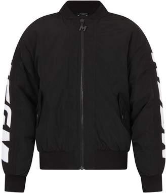MSGM Black Padded Girl Bomber Jacket With White Logo