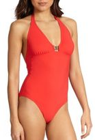 Tory Burch One-Piece Logo Halter Swimsuit