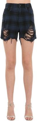 R 13 Shredded Slouch Cotton Denim Shorts