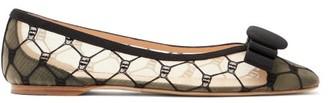 Rupert Sanderson Ace Embroidered-mesh Ballet Flats - Black Beige