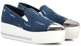 Miu Miu Denim slip-on platform sneakers