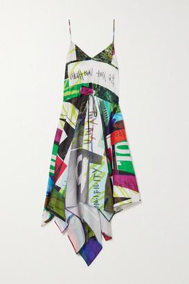 Marques Almeida Asymmetric Printed Satin Midi Dress