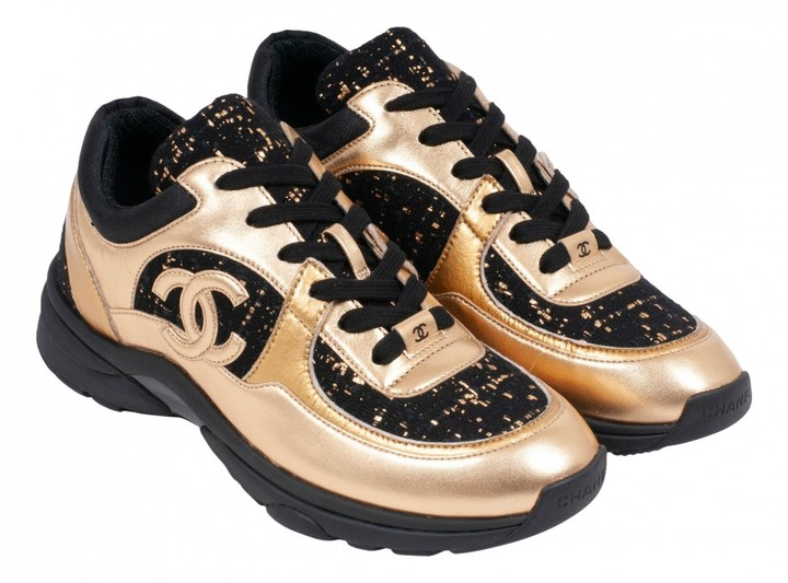 Chanel Gold Tweed Trainers - ShopStyle