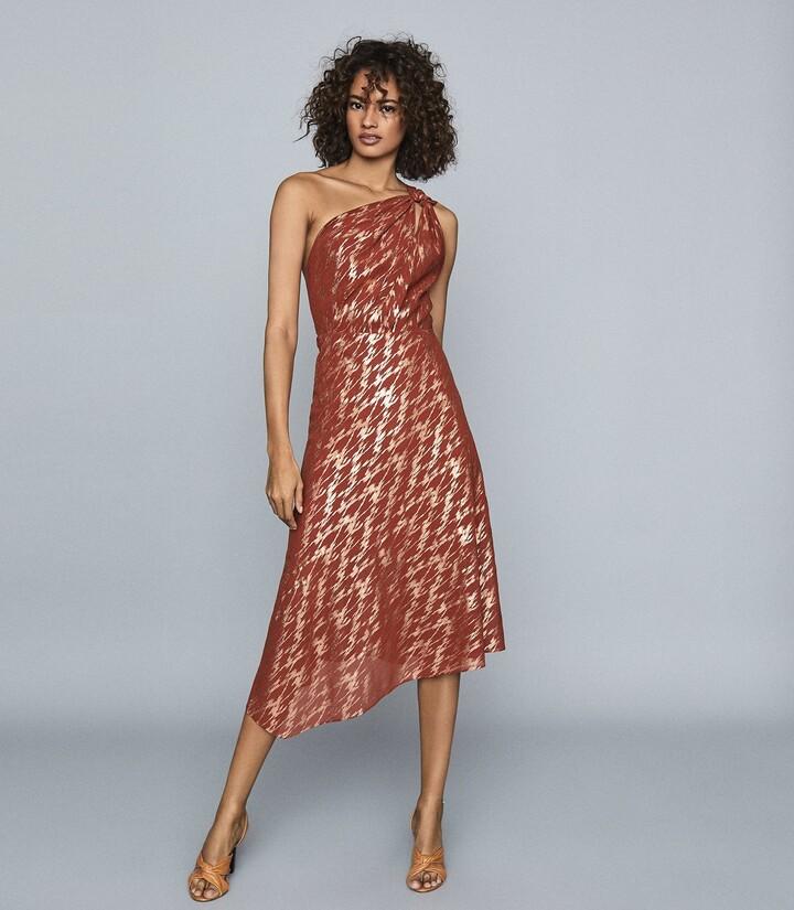 Reiss Delilah - One Shoulder Metallic Dress in Red