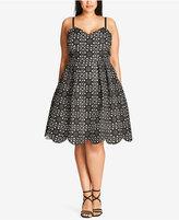 City Chic Trendy Plus Size Laser-Cutout Fit & Flare Dress