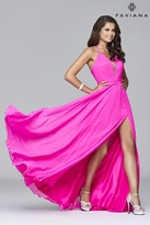 Faviana 7747 Chiffon v-neck evening dress with full skirt and lace-up back