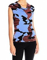 Anne Klein Women's Maasai Printed Cap Sleeve Top