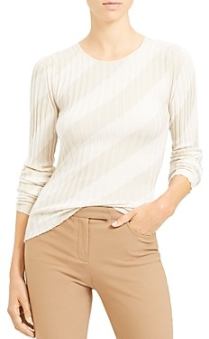Theory Striped Silk Intarsia Crewneck Sweater