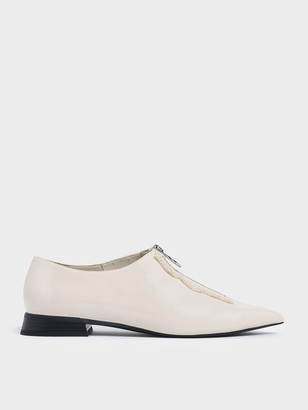 Charles & Keith Wrinkled Patent Frayed Zip Front Loafers