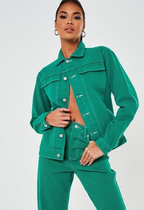 Missguided Green Co Ord Oversized Denim Jacket