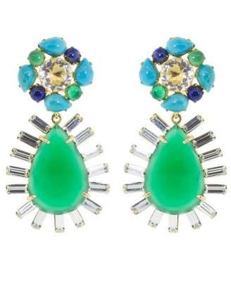 Bounkit Clear Quartz and Green Onyx Earring Set