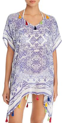 Surf.Gypsy Mykonos Print Tassel Detail Tunic Swim Cover-Up
