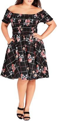 City Chic Picnic Bouquet Dress (Plus Size)