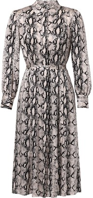 Jason Wu Snakeskin-Print Belted Shirt Dress