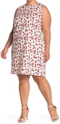 London Times Cherry Print Sleeveless Shift Dress (Plus Size)