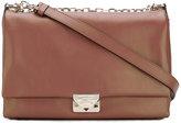 Emporio Armani logo buckle shoulder bag - women - Cotton/Calf Leather - One Size