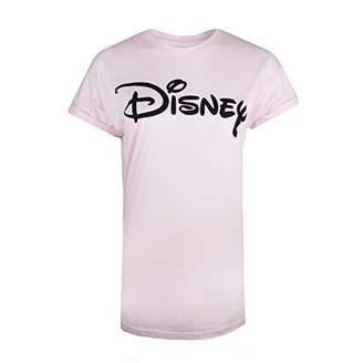 Disney Women's Logo T-Shirt, (Pale Pink Pnk), (Size:Small)
