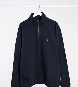 French Connection Plus funnel neck half zip sweatshirt in navy