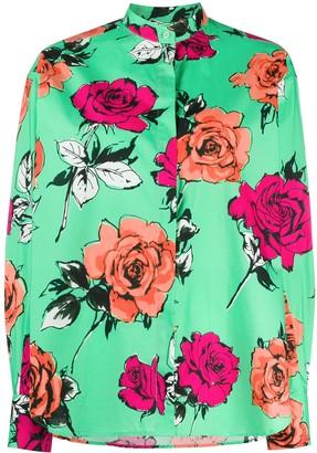 MSGM Rose Print Curved Hem Shirt