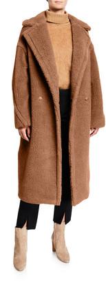 Max Mara Double-Breasted Camel Hair Blend Teddy Coat