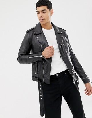 Barneys New York Barneys Originals real leather zipped biker jacket-Black