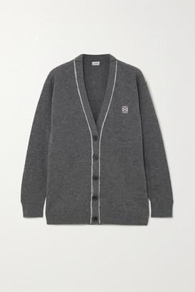 Loewe Embroidered Wool Cardigan - Gray