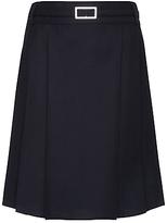 John Lewis Girls' Adjustable Waist Belted School Kilt, Navy