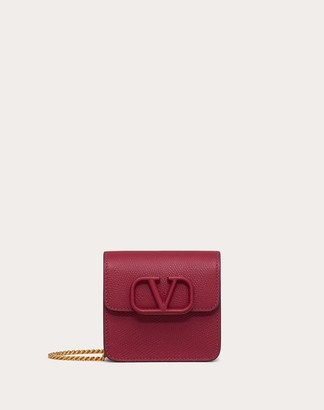 Valentino Compact Vsling Grainy Calfskin Wallet With Chain Strap Women Raspberry Pink Calfskin 100% OneSize