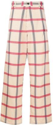 Marni wide leg gingham print trousers