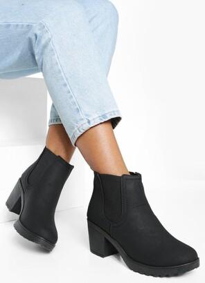 boohoo Chunky Cleated Heel Chelsea Boots