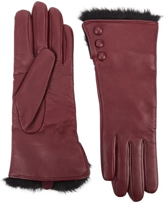 Dents Sophie Burgundy Fur-trimmed Leather Gloves