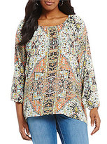 Chelsea & Theodore Plus Abstract Medallion Printed Top