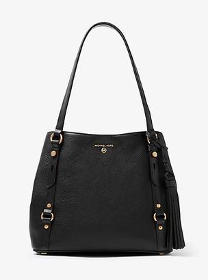 MICHAEL Michael Kors MK Carrie Large Pebbled Leather Shoulder Bag - Black - Michael Kors