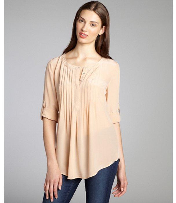 Daniel Rainn peach glow silk crepe pintucked long sleeve blouse