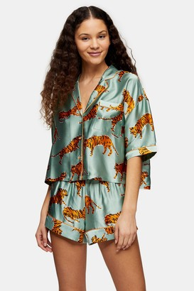 Topshop Womens Sage Tiger Print Satin Pyjama Set - Sage