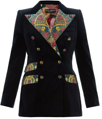 Dolce & Gabbana Double-breasted Floral Brocade And Velvet Blazer - Dark Blue