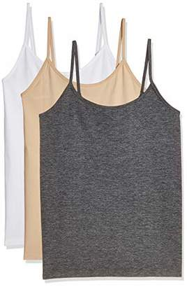 Layla's Celebrity 3 Pack Women's Seamless Basic Layer Camisole Top Nylon Spandex