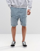 Asos Drop Crotch Cargo Shorts In Light Blue
