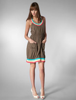 Tank Dress with Tri-Color Neckline in Olive
