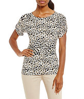Calvin Klein Leopard Print Matte Jersey Short Roll-Tab Sleeve Top